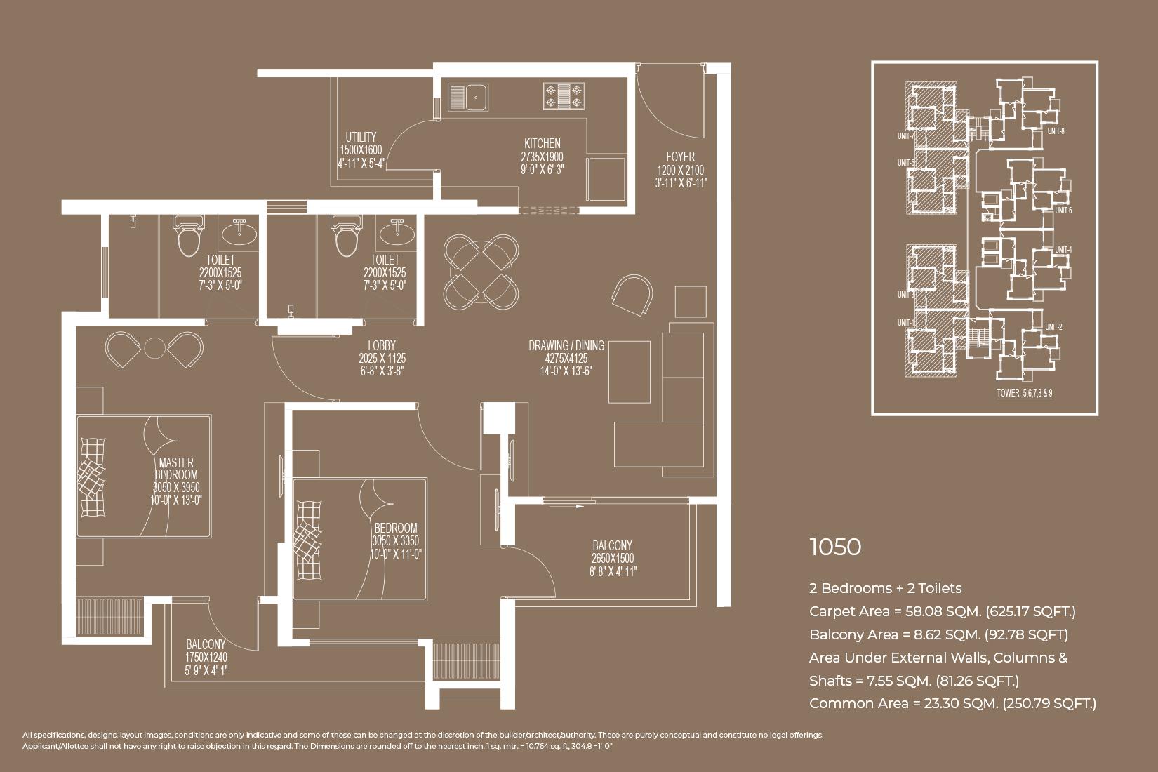 Floor Plan 1050 Sq.Ft.